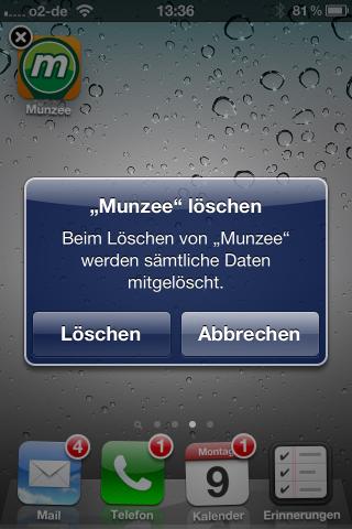 MUNZEE iOS iPhone Löschbestätigung Smartphone